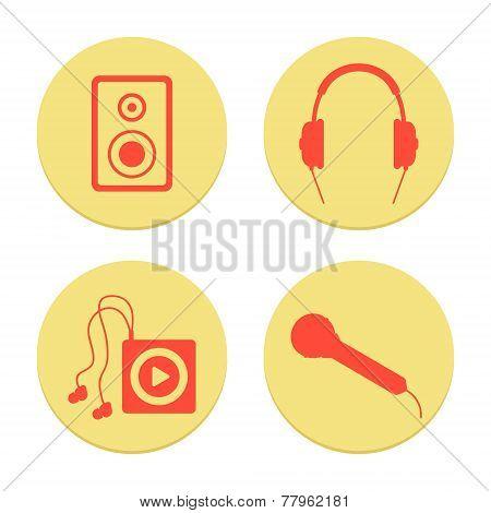 flat musical icons set on white background