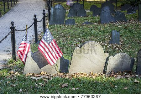 Old Cemetery With Us Flags In Boston, Usa