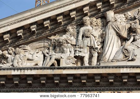 Paris - The pediment of Pantheon.