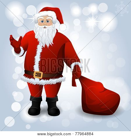 Santa Claus with red sack over white