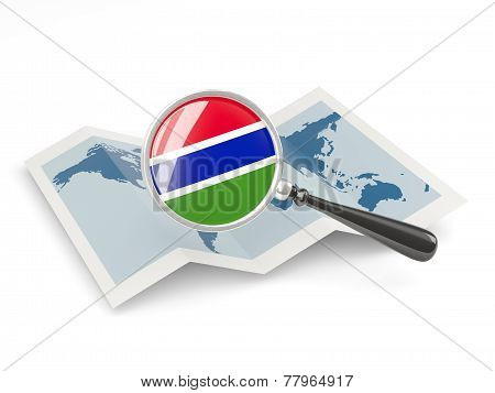 Magnified Flag Of Gambia With Map