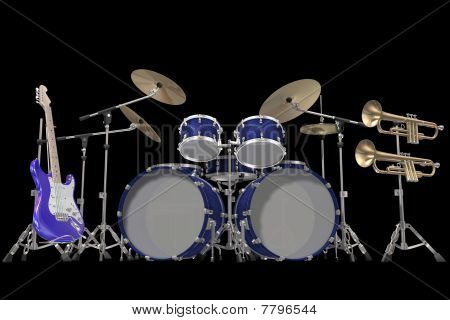 Jazz background drum kit guitar and trumpet