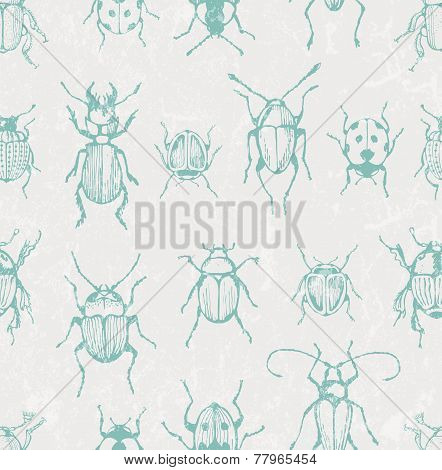 Seamless entomological vector pattern with  bugs