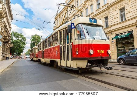 Prague Red Tram Detail, Czech Republic