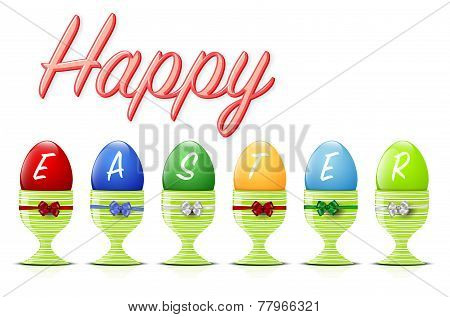 Happy Easter Background With Easter Eggs