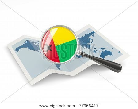 Magnified Flag Of Guinea Bissau With Map