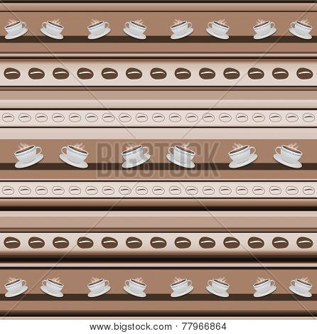 Cups Of Coffee Stripy Background In Brown Spectrum