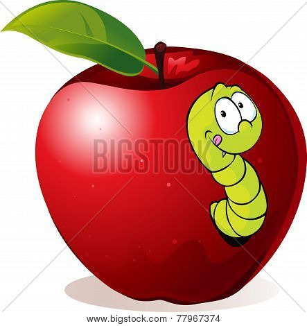 Illustration Of Cartoon Worm In Red Apple