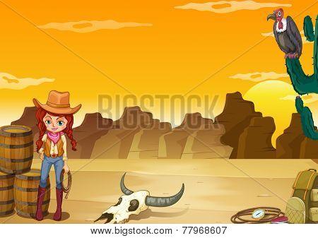 Wallpaper with desert scene in yellow color