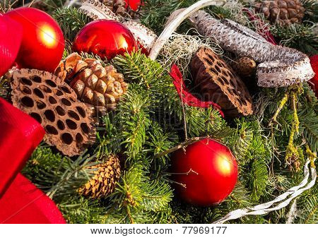 christmas background with toys on fir tree