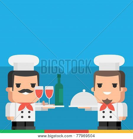 Chef holding tray of drinks and meal