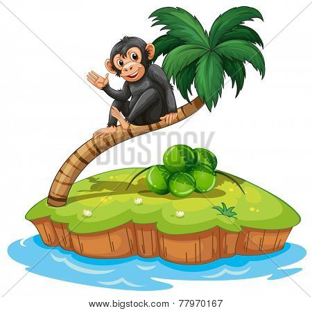 A monkey above the coconut tree in an island on a white background