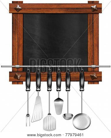 Empty Blackboard With Kitchen Utensils