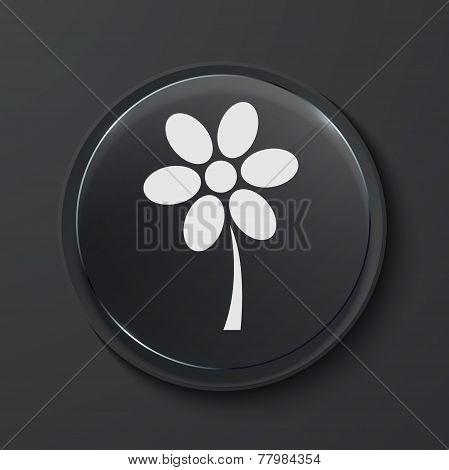Vector modern black glass circle icon.