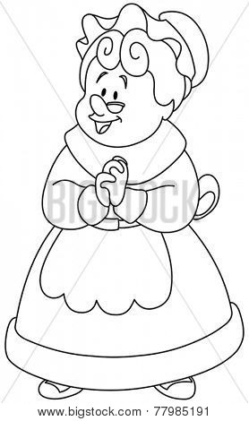 Outlined happy Mrs. Claus. Vector illustration coloring page.