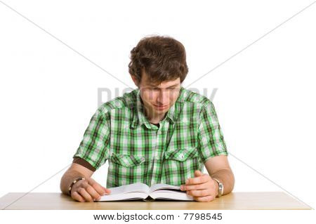 Curious Student Reads Book, Isolated On White