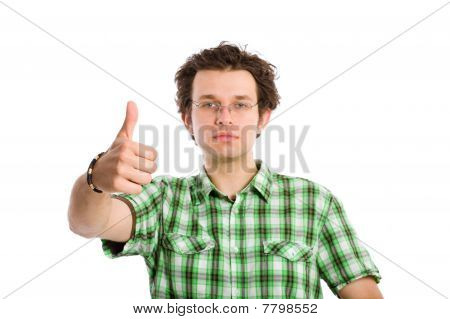 Young Adult And Thumbs Up Gesture, Isolated On White