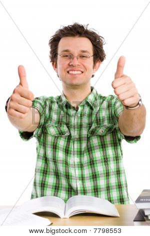 Crazy Happy Student, Thumbs Up, Isolated On White