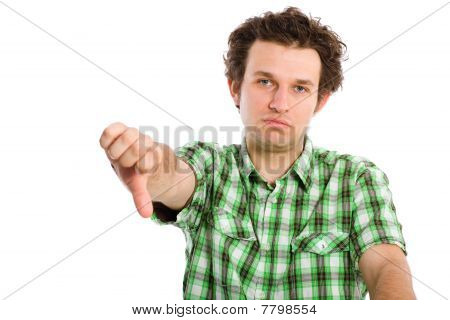 Disappointed And Unsuccesful Young Adult, Thumb Down, Isolated