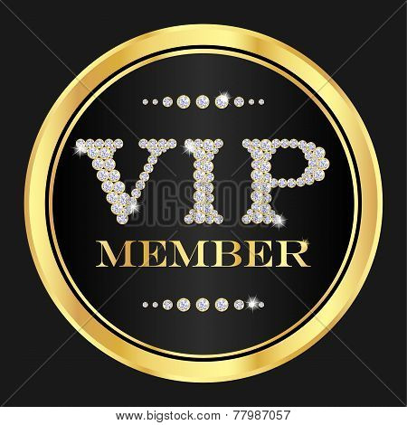 Vip Member Badge. Vip Composed From Small Diamonds