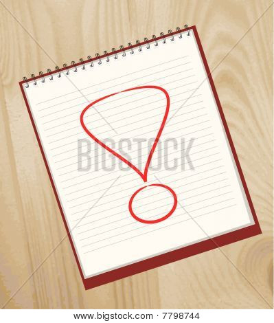 Exclamation mark drawn in an open notebook