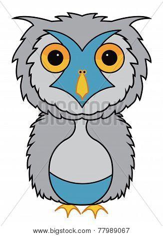 Grey owl cartoon illustration vector