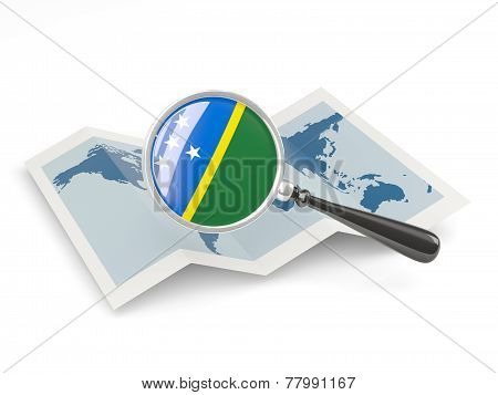 Magnified Flag Of Solomon Islands With Map