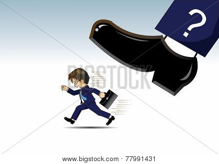 Businessman running away from Very big shoes