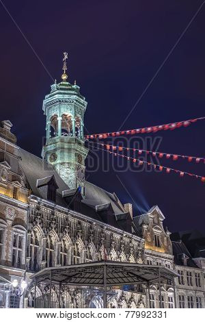 City Hall On The Central Square In Mons, Belgium.