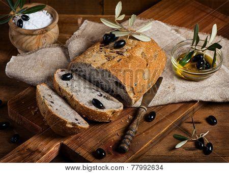 Sliced Homemade Olive Bread