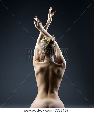 Rear view of graceful naked woman posing in studio
