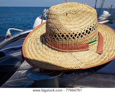 Straw Hat On A Sailing Yacht
