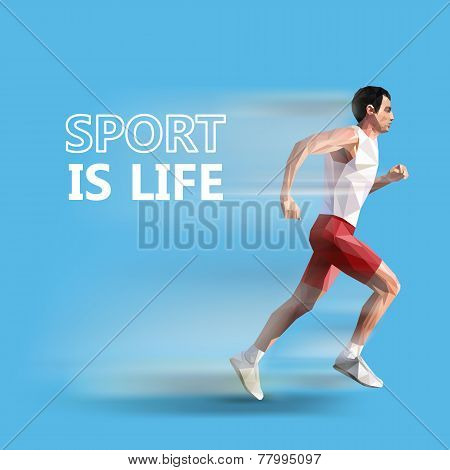 polygonal running man. Vector geometric illustration. sport is life