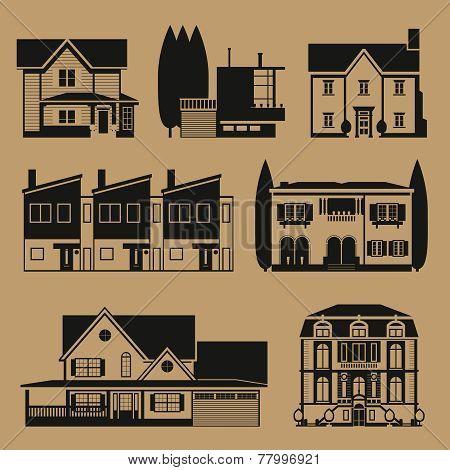 Monochrome real estate houses