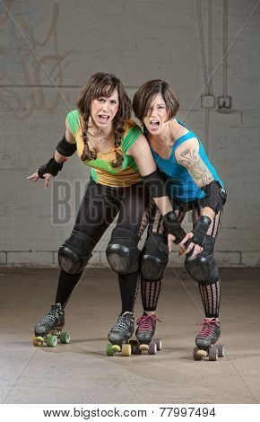 Aggressive Roller Derby Skaters