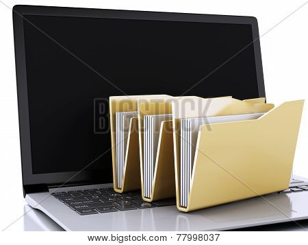 3d laptop and computer files on white background