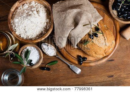 Ingredients For Making Bread With Olives,  Top View