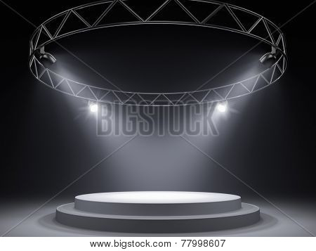 Empty stage in spot lights