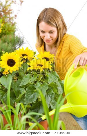 Gardening - Woman Pouring Flowers