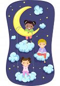 picture of pajamas  - Illustration of Kids in Pajamas Surrounded by Clouds and Stars - JPG