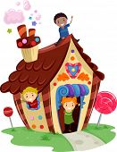 stock photo of playmates  - Illustration of Kids Playing in a Fancy House Made of Candies - JPG