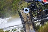 stock photo of airboat  - An Everglades swamp boat skirts around the water - JPG
