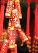 picture of chinese crackers  - fake chinese firecrackers for decoration the chinese new year - JPG