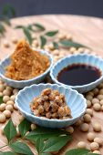 picture of soybeans  - group shot of Japaneese traditional soybean processed foods Natto - JPG