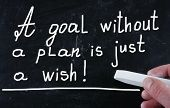 stock photo of goal setting  - A Goal Without A Plan Is Just A Wish concept handwritten with chalk on a blackboard - JPG