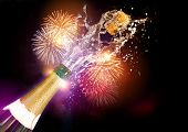 picture of firework display  - A bottle of Champagne with it - JPG