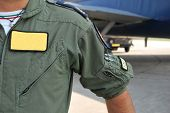 stock photo of afterburner  - Detail uniform of pilot E  - JPG