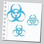 image of bio-hazard  - Bio hazard symbols sketch  - JPG