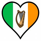 stock photo of irish flag  - Irish Flag within a heart all over a white background - JPG