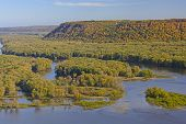 pic of bluff  - Colorful Bluffs above the confluence of the Wisconsin and Mississippi Rivers in Fall - JPG
